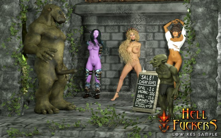 Monster porn with three mystic slave girls