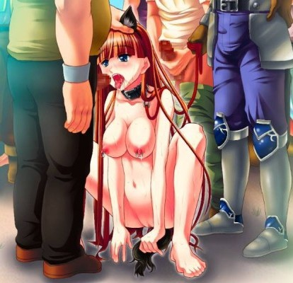 Leash slave slut sucks group of boys