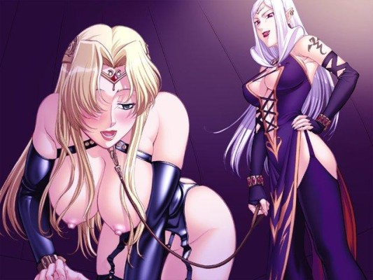 Sexy hentai slave on a lesbian leash