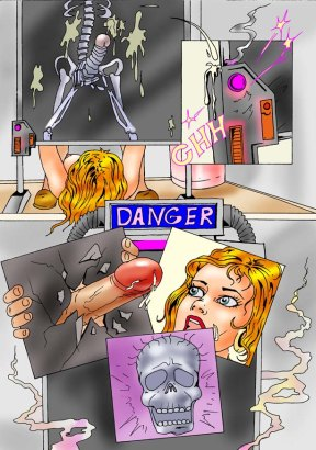 Blonde nurse plays in a danger room