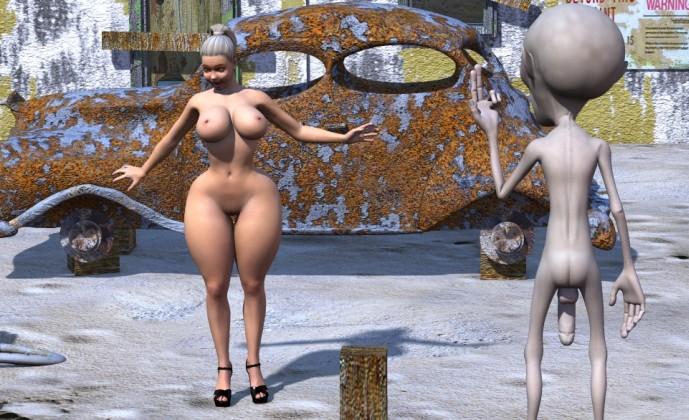 Big latina girl and funny alien cock