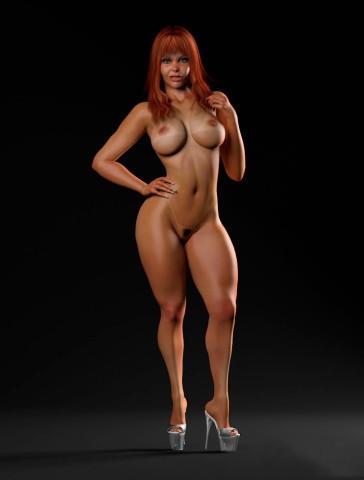Wide thighs and big tits latina slut 3d