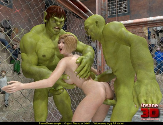 Crazy hulk monster fucks a naked slut in a fight ring
