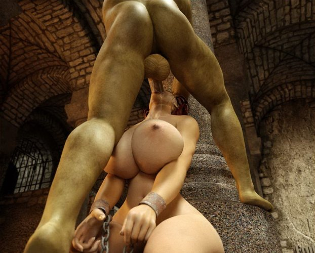 Evil monster with big balls deepthroats a slave