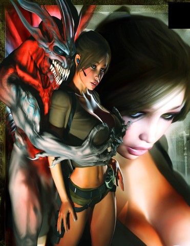 Lara croft caught by angry devil