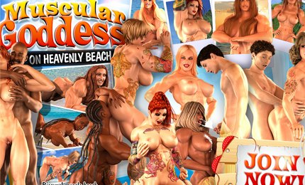 Naked muscular bodybuilders girls 3D