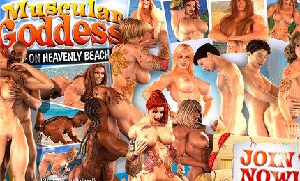 Naked muscular bodybuilders girls 3D