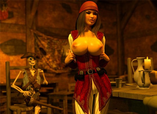 Busty pirate jessica shows monster boobs