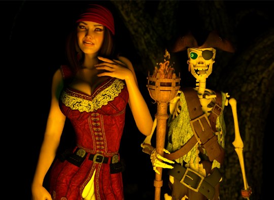 Sexy pirate and her skeleton slave