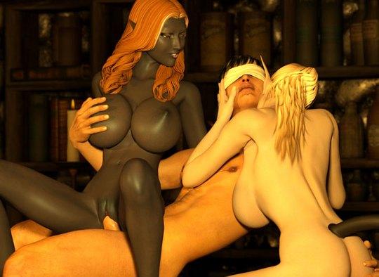 Fantasy monster elves and white man orgy
