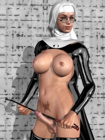 3d cartoon shemale nun with a whip